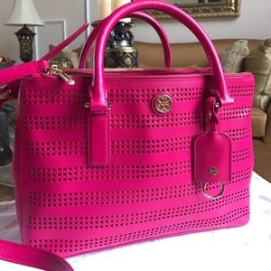 NEW TORY BURCH PINK PERFORATED SHOULDER BAG TOTE